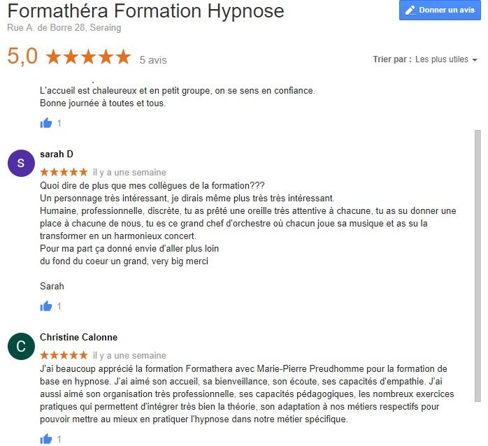 témoignages formation hypnose formathera